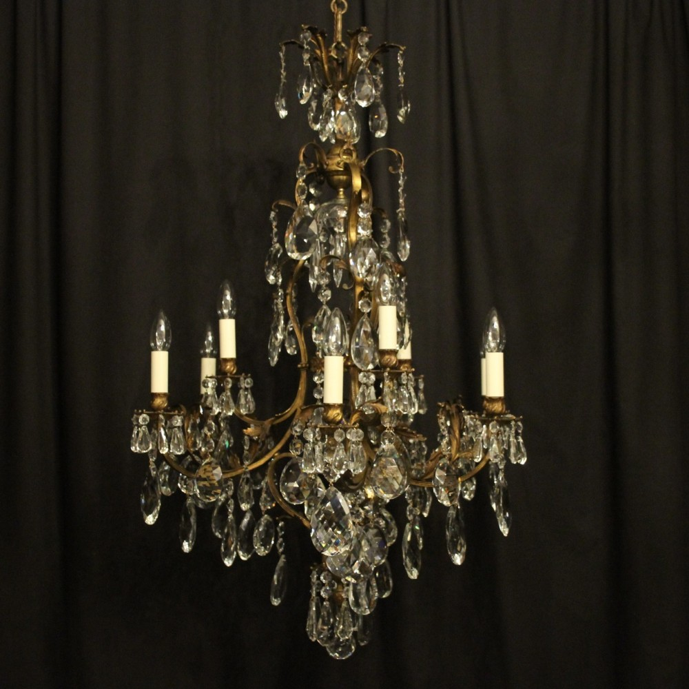 french gilded bronze crystal 10 light chandelier