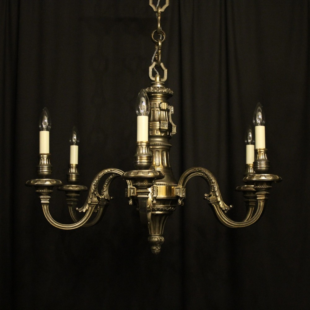french silver gilded bronze 6 light chandelier