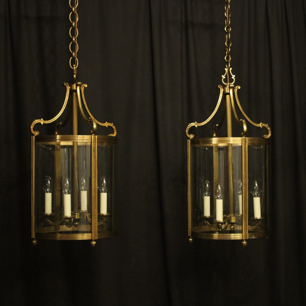 french large pair of bronze convex antique hall lanterns