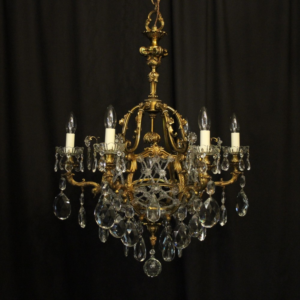 french gilded bronze crystal 7 light antique chandelier