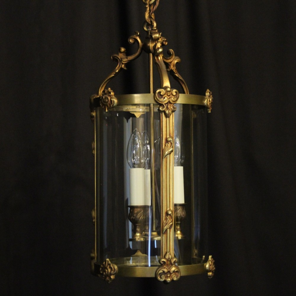 french gilded bronze convex antique hall lantern