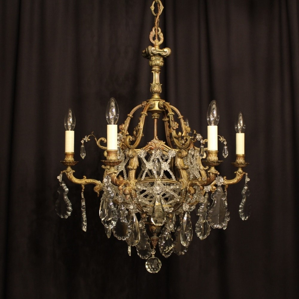 french 19th century gilded bronze 7 light antique chandelier