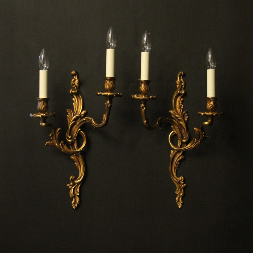 french pair of gilded bronze twin arm antique wall lights