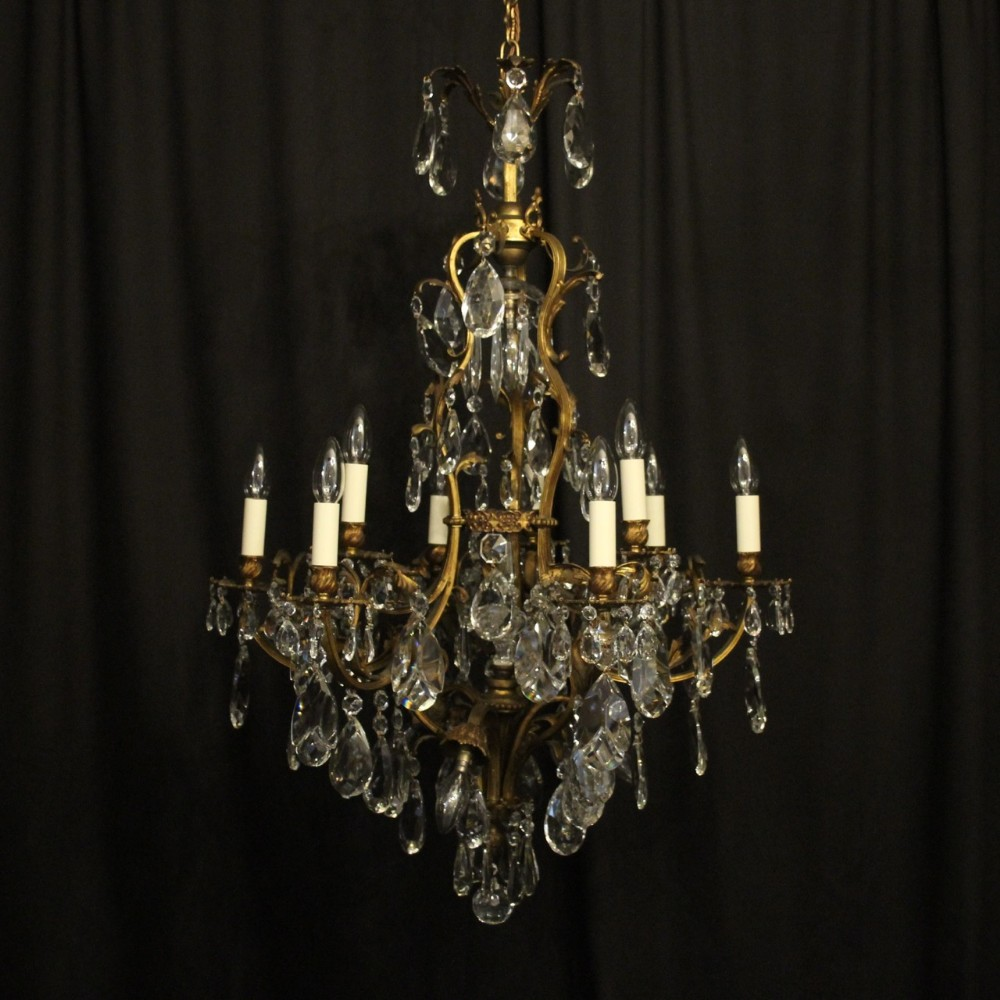 french gilded bronze crystal 13 light chandelier