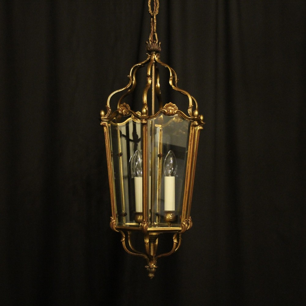 french gilded bronze triple light antique lantern