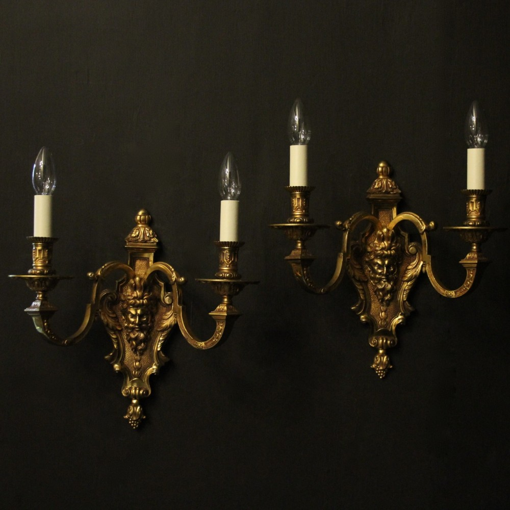 french pair of gilded bacchus twin arm antique wall lights