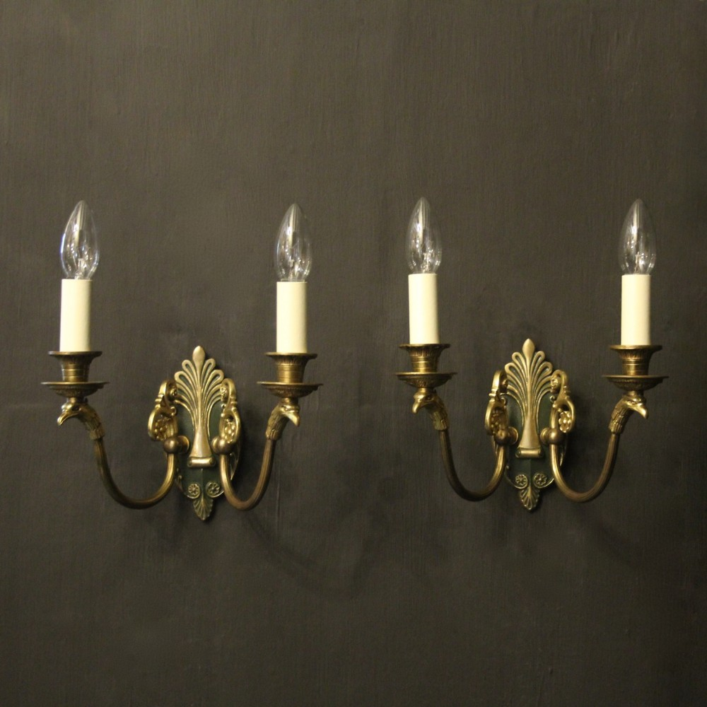 french pair of gilded bronze empire antique wall lights