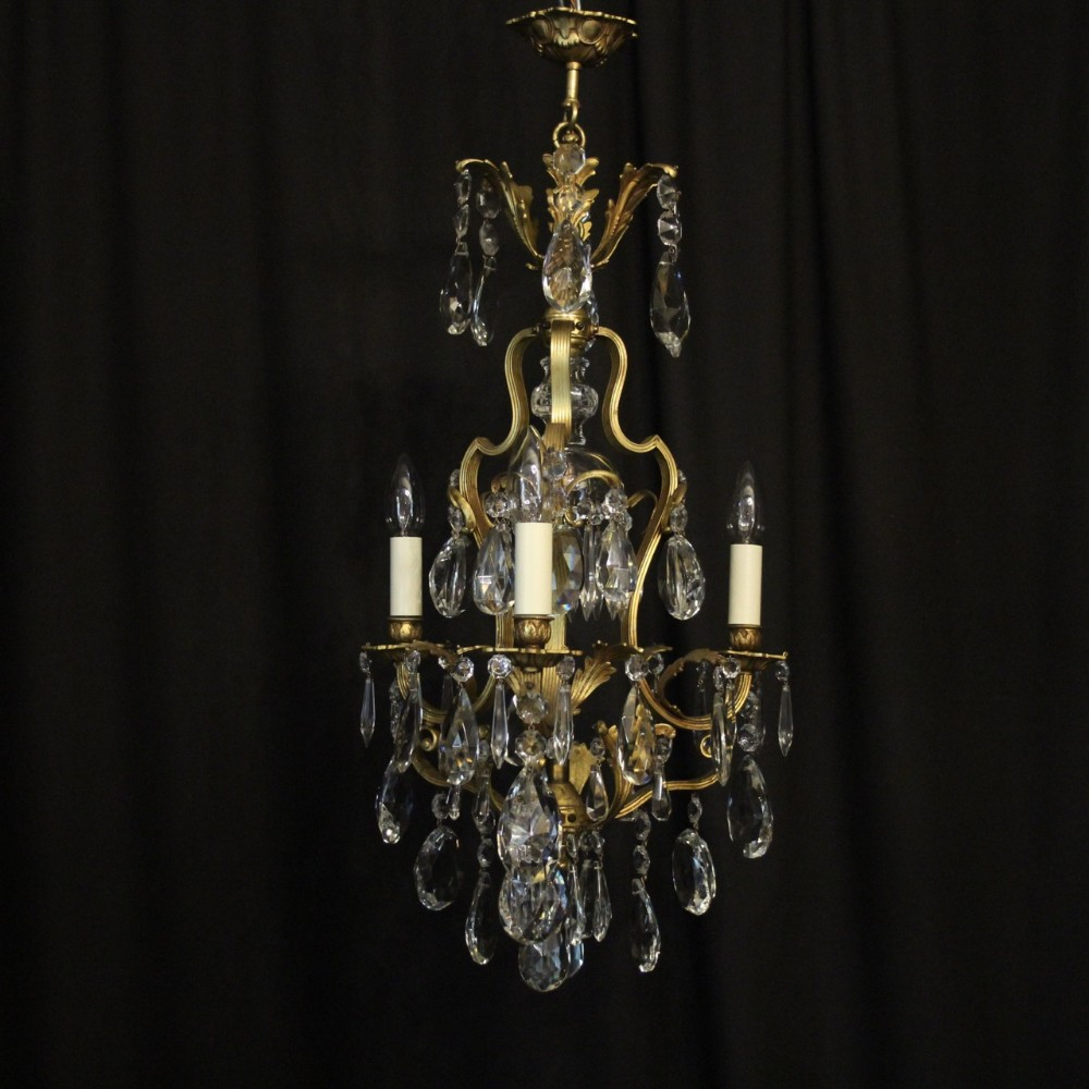 french gilded birdcage crystal antique chandelier