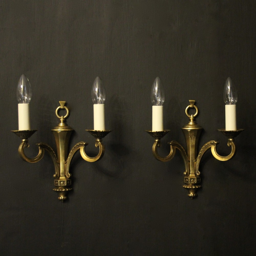 english pair of gilded twin arm antique wall lights