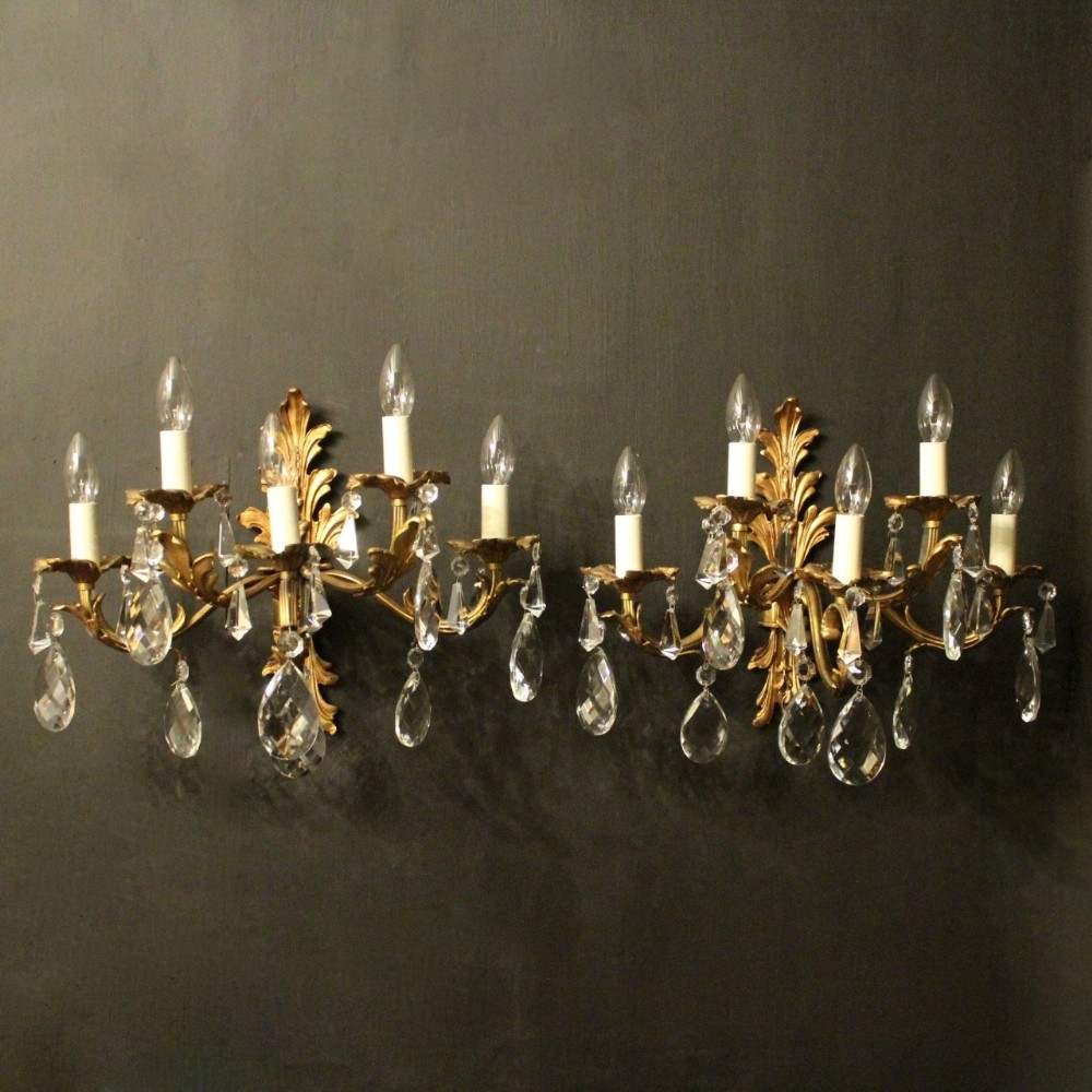 italian gilded bronze pair of five arm antique wall lights
