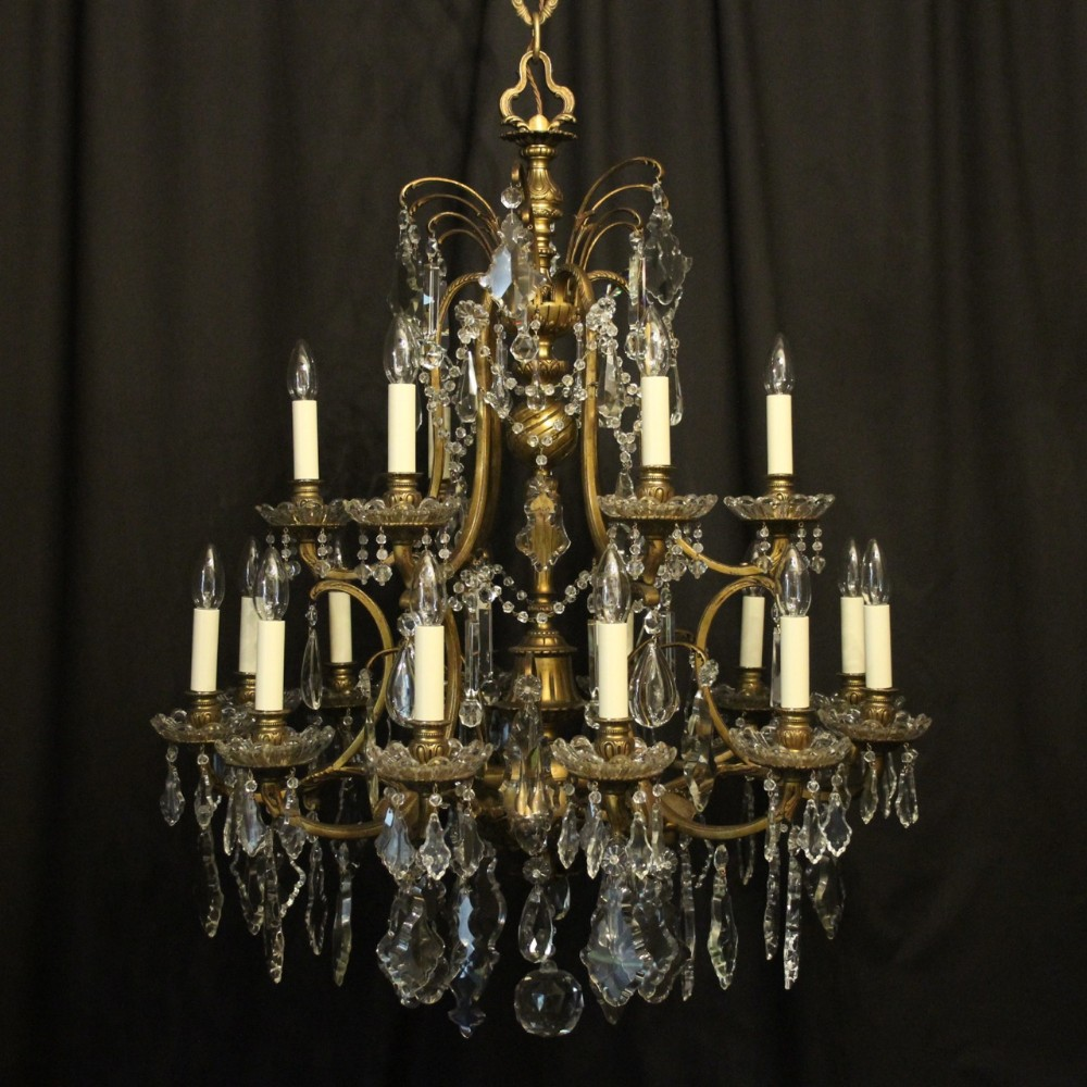 french 19th c gilded bronze crystal 18 light antique chandelier