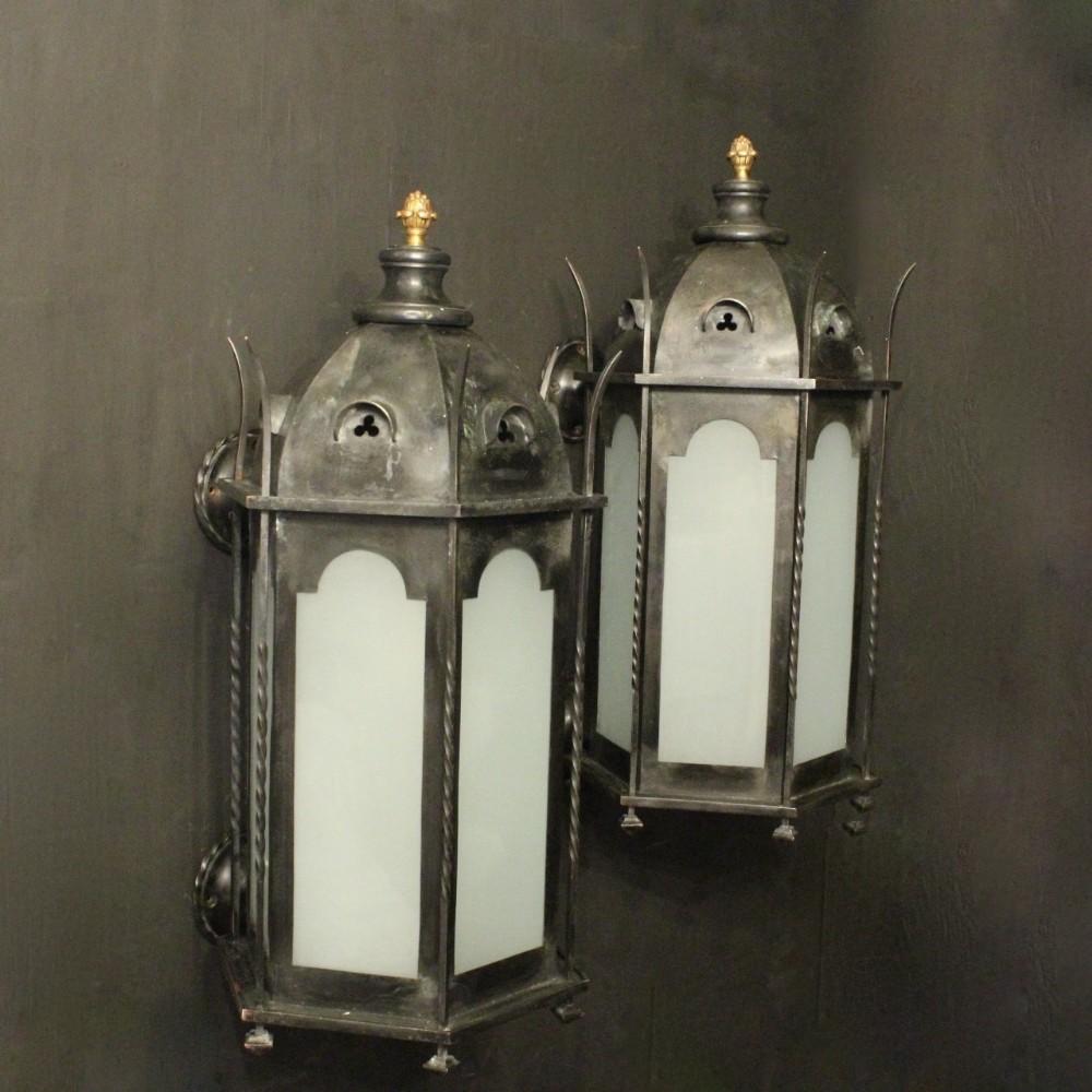 english pair of bronze external antique wall lanterns