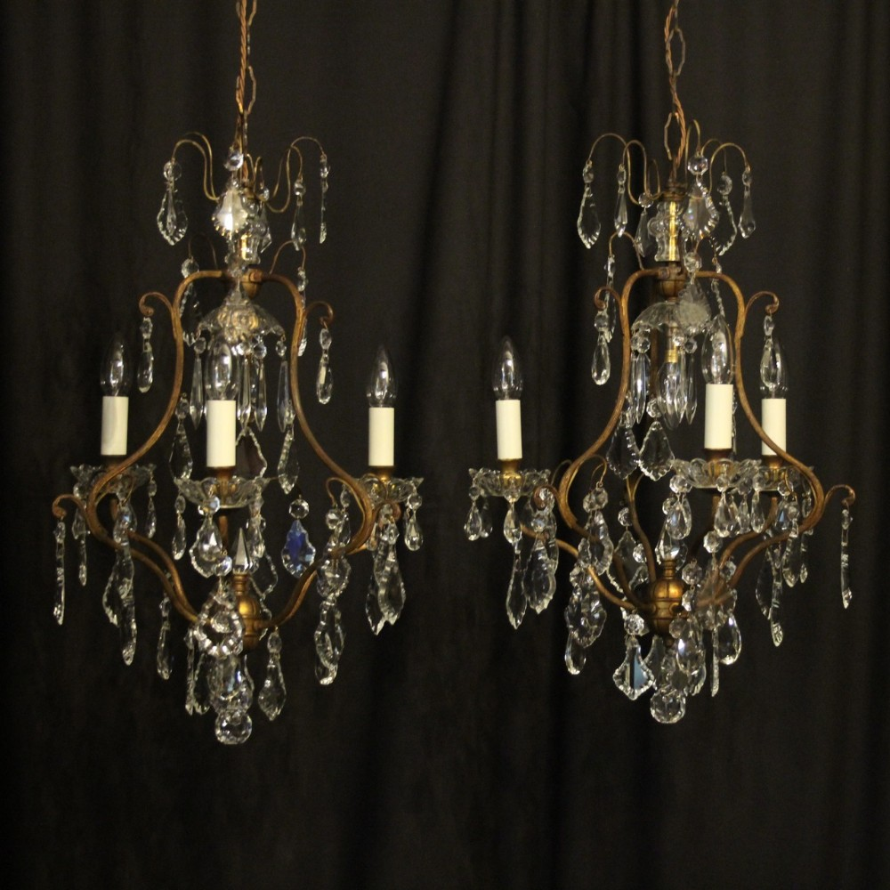 french pair of gilded birdcage antique chandeliers