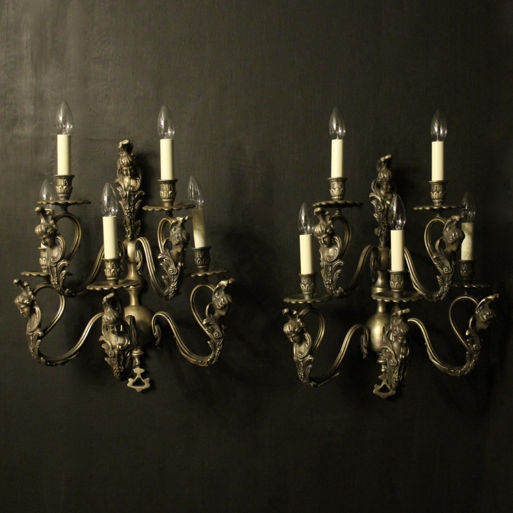 italian large silver gilded 5 arm double tiered wall lights