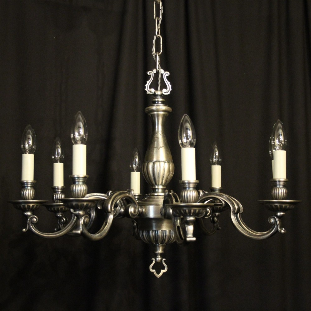 french silver plated 8 light chandelier