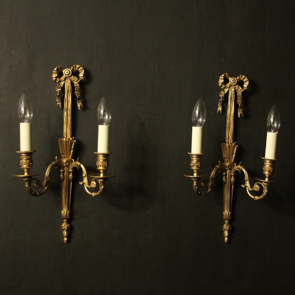 french gilded brass antique wall lights