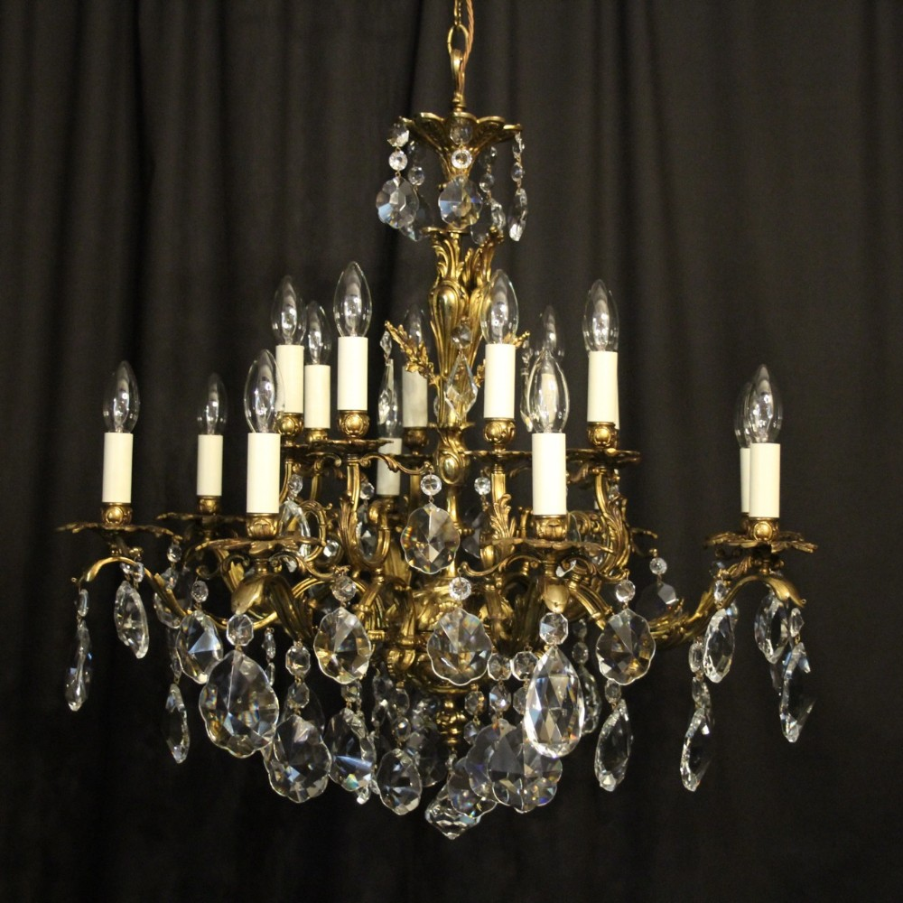 italian gilded bronze crystal tiered 16 light antique chandelier