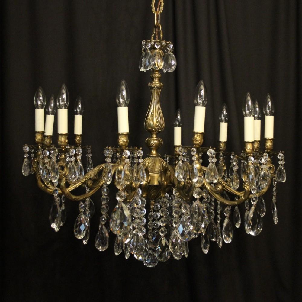 italian gilded brass 12 light chandelier