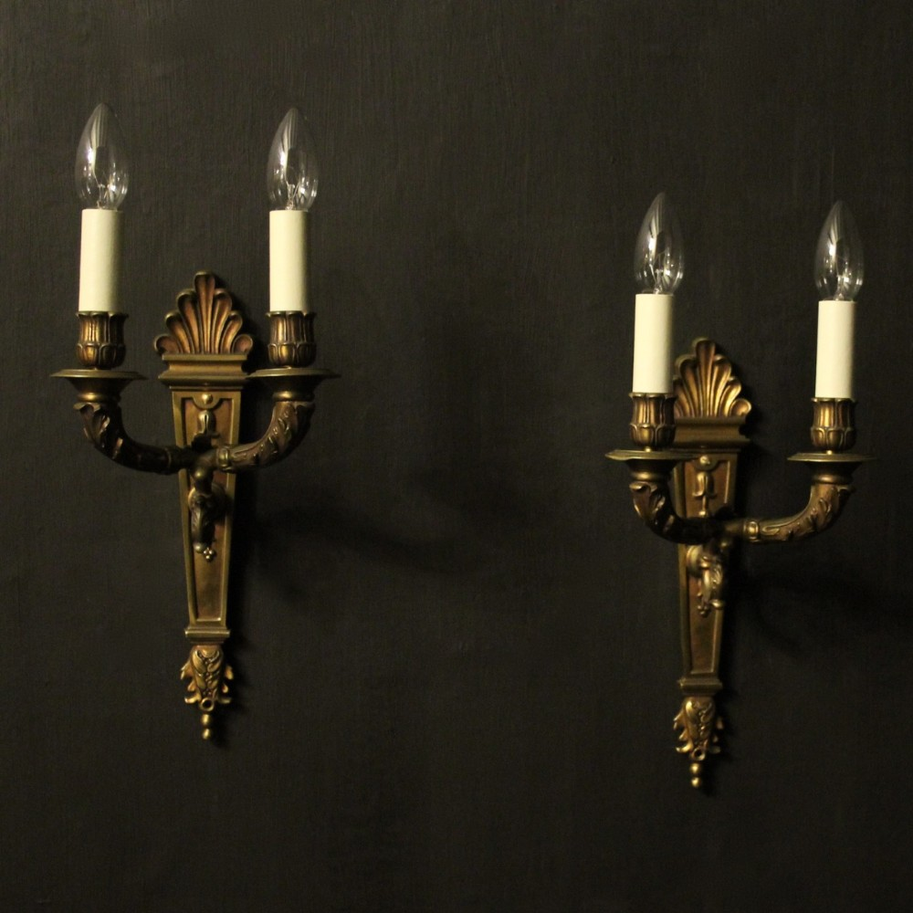 french bronze pair of gilded twin arm wall lights