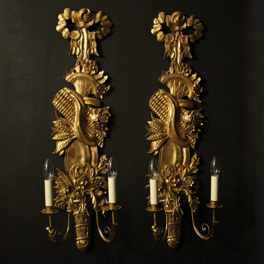 french large pair of giltwood leaf twin arm wall lights