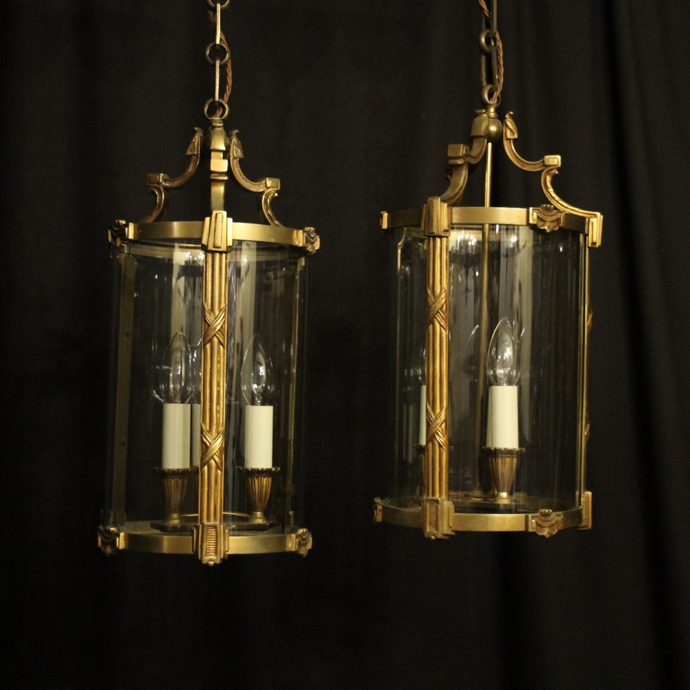 french pair of gilded bronze antique hall lanterns