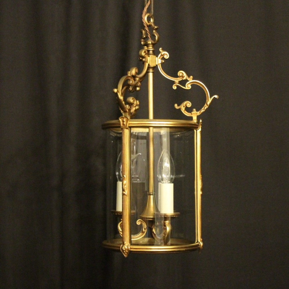 french gilded bronze convex triple light antique hall lantern