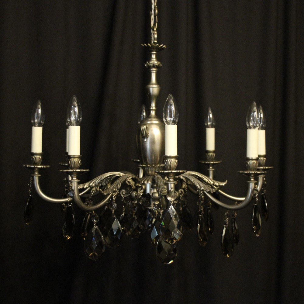 french silver gilded brass 8 light chandelier