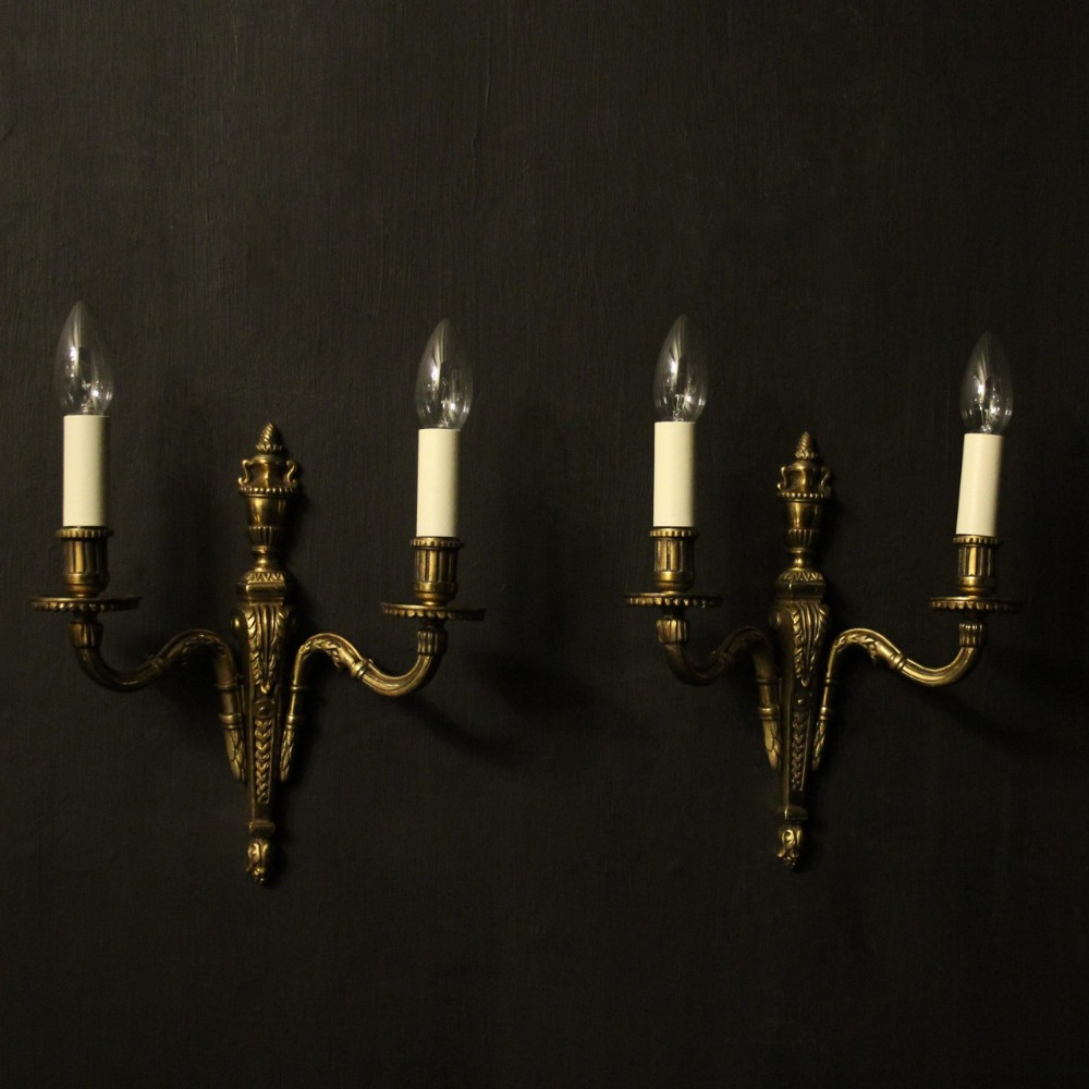 french pair of gilded twin arm antique wall lights