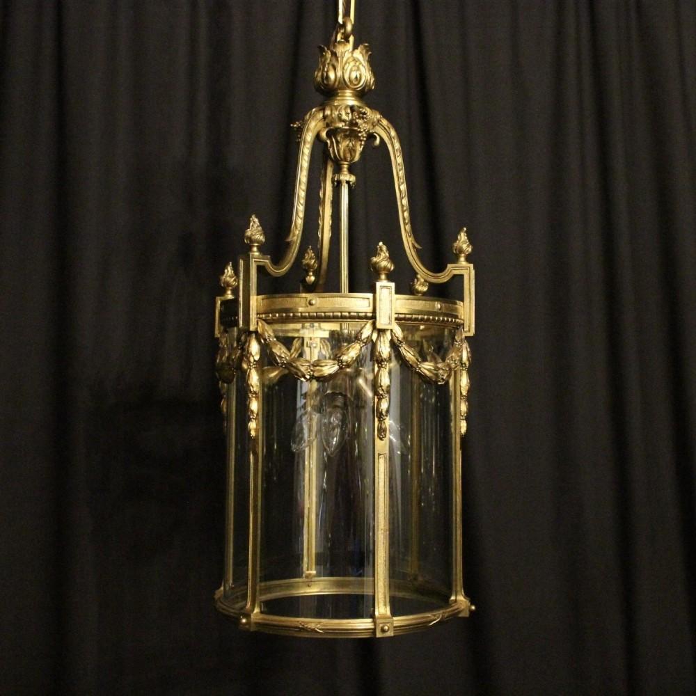 french 19th century gilded bronze triple light antique lantern