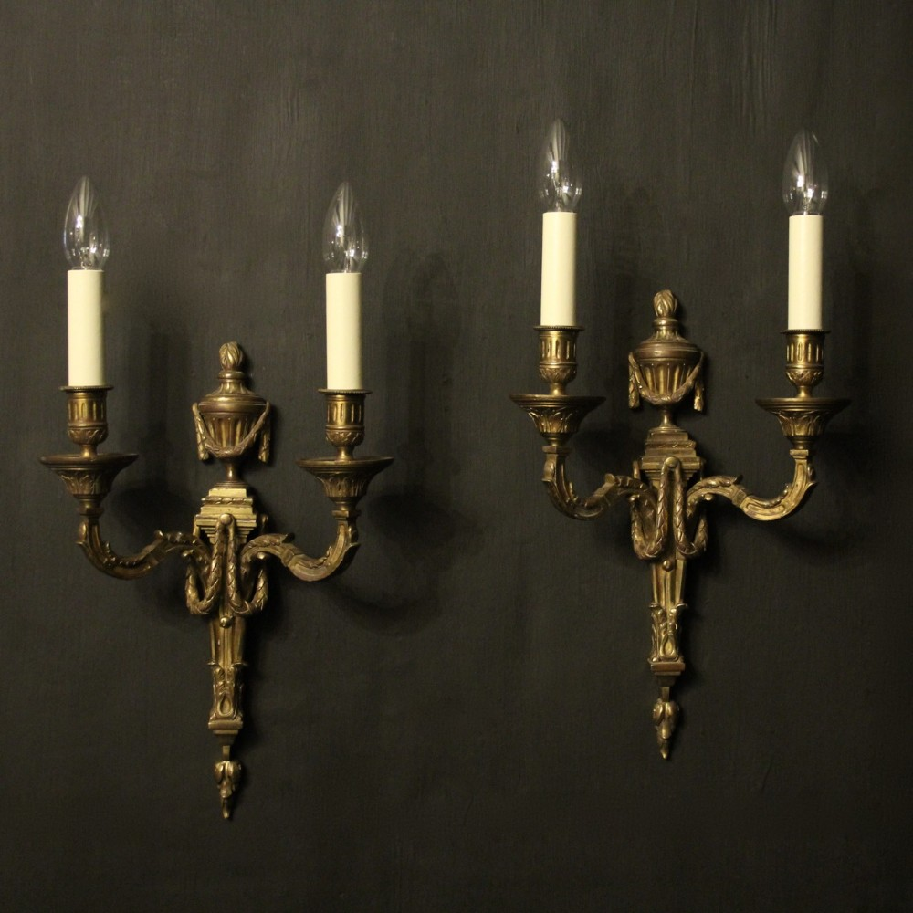 french pair of gilded bronze antique wall sconces