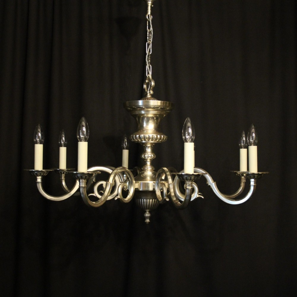 english silver plated 8 light antique chandelier