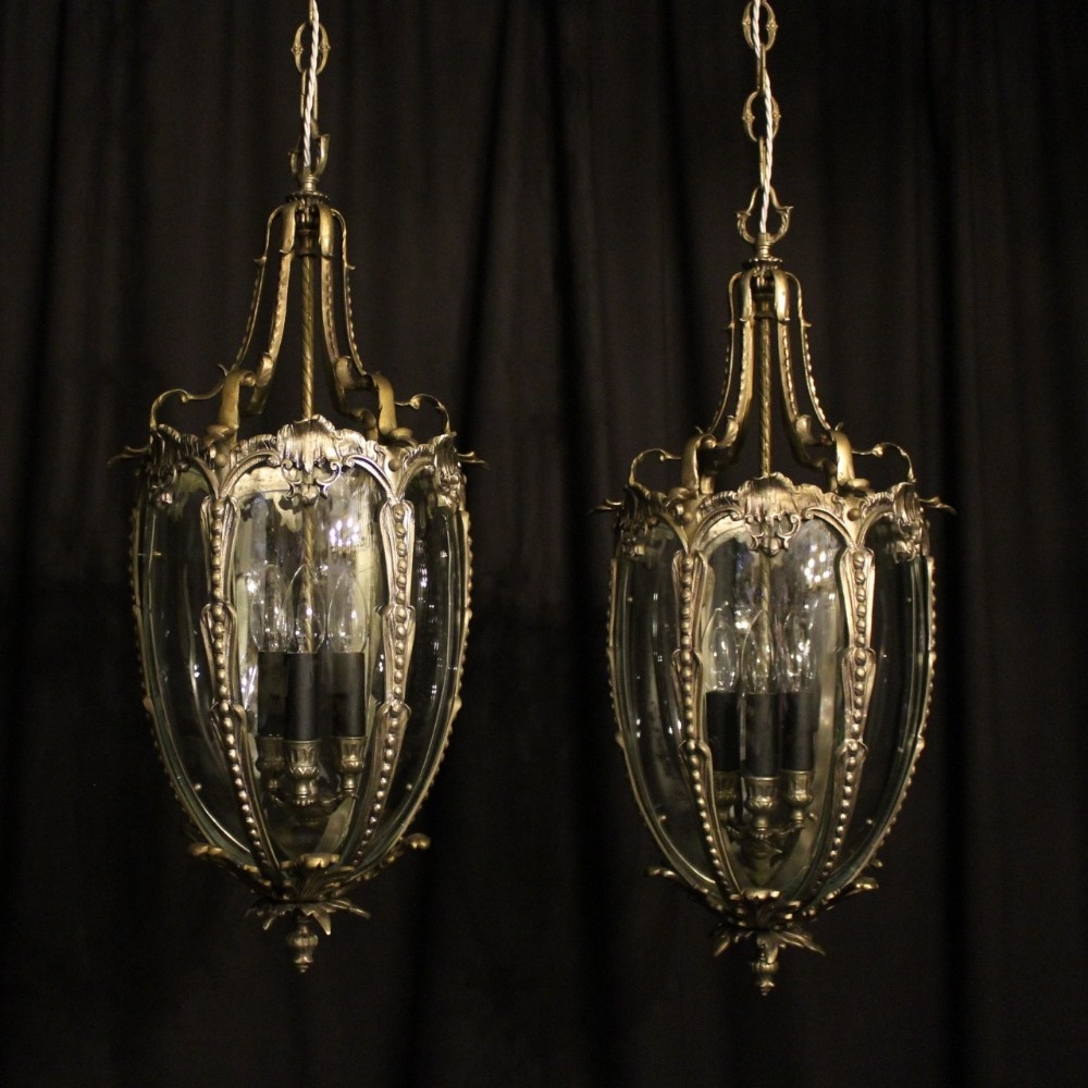 french pair of silver gilded bronze antique lanterns