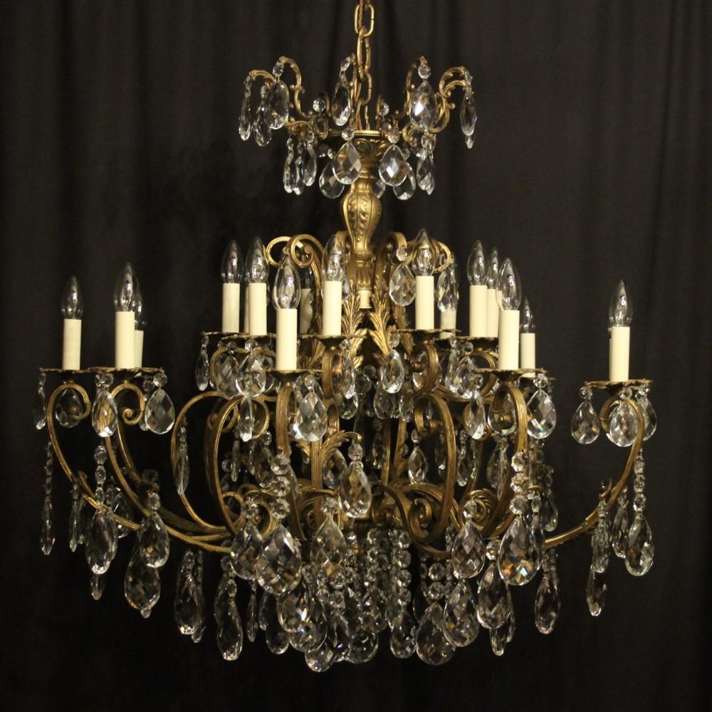 italian gilded bronze crystal 20 light antique chandelier