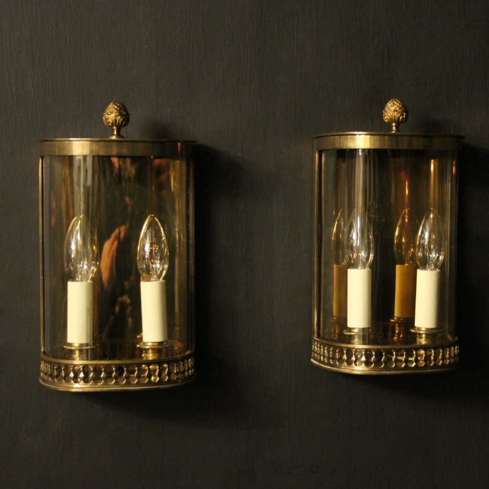 french pair of brass antique half wall lanterns