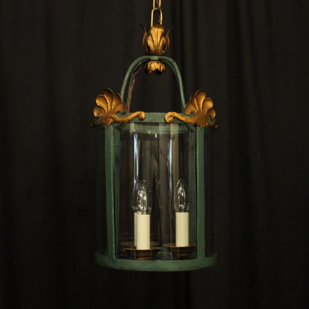 french gilded polychrome triple light convex hall lantern