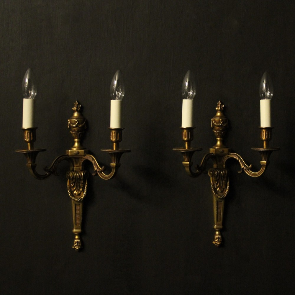 french gilded bronze pair of antique wall lights