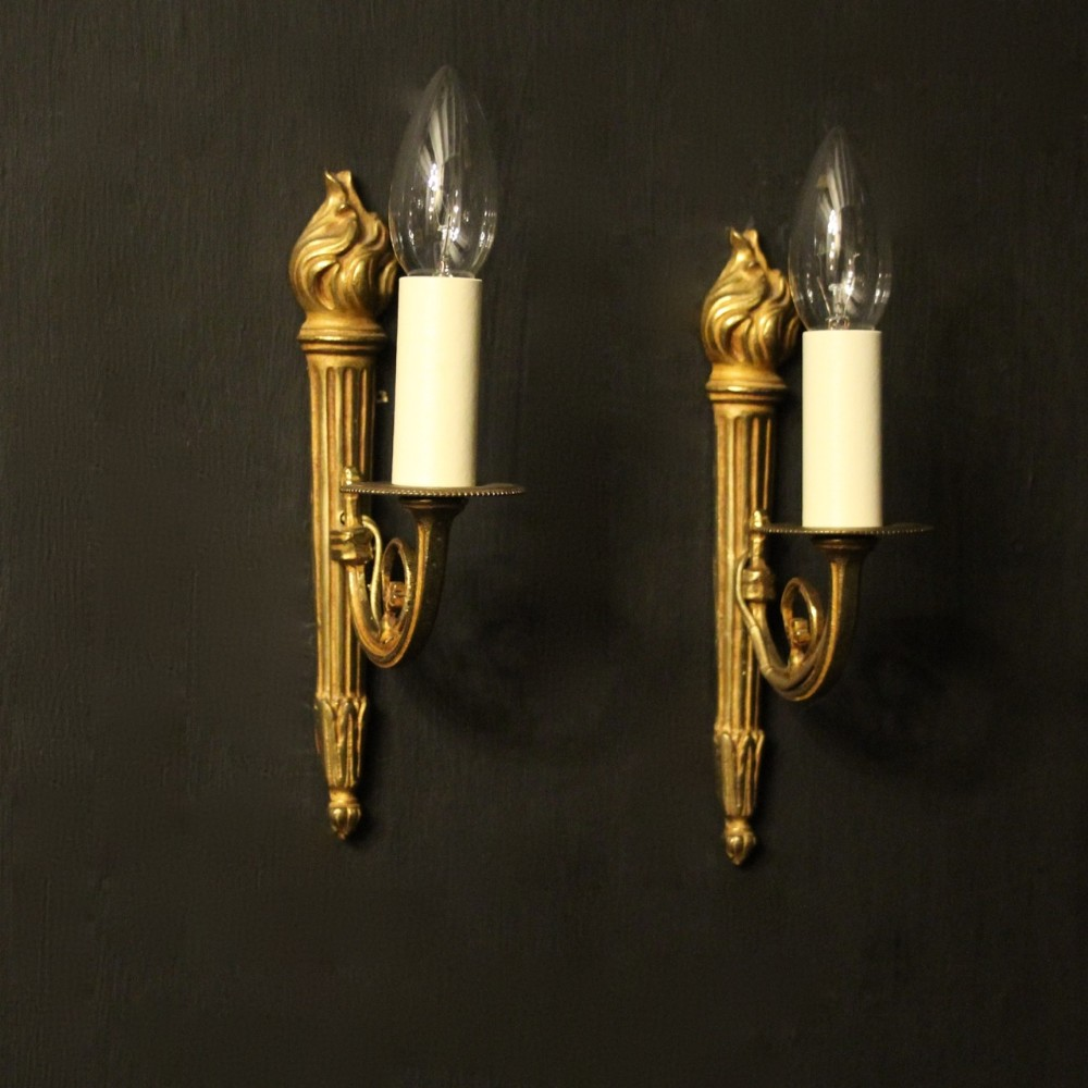 french pair of single gilded antique wall lights