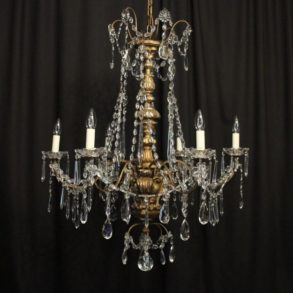 genoa 6 light giltwood crystal antique chandelier