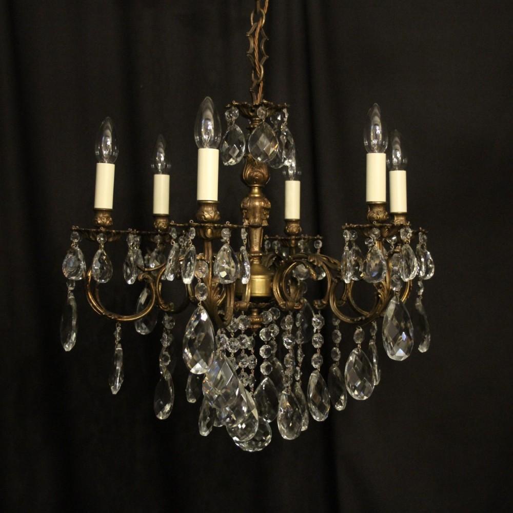italian 6 light gilded crystal antique chandelier