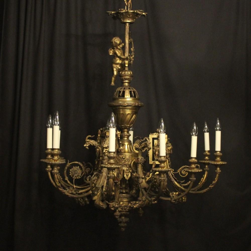 french 19th c gilded bronze 12 light cherub antique chandelier