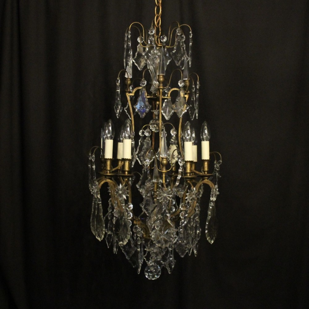french gilded bronze crystal 8 light antique chandelier