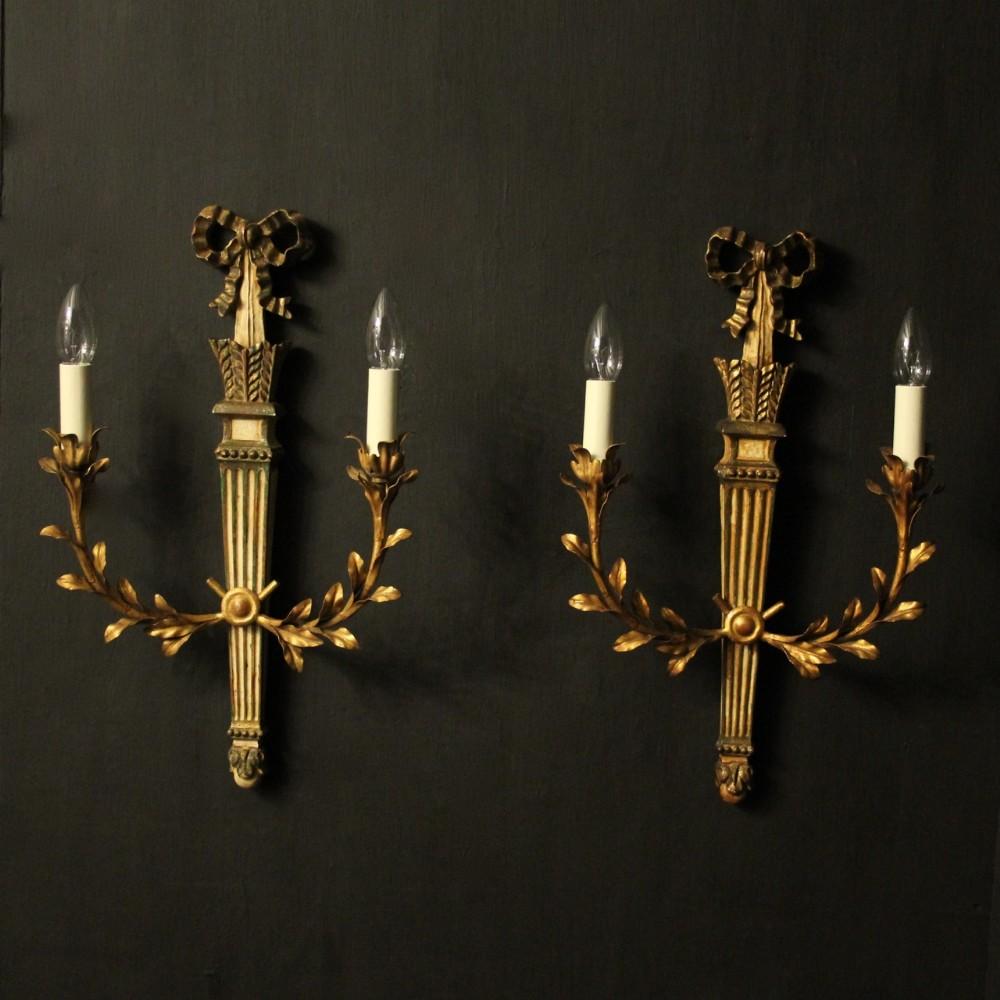 italian pair of giltwood palladio wall lights