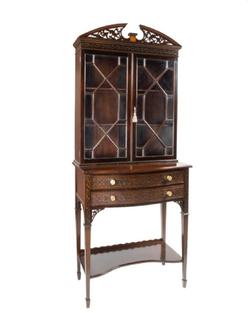mahogany edwardian mapel and co chippendale revival display cabinet on stand