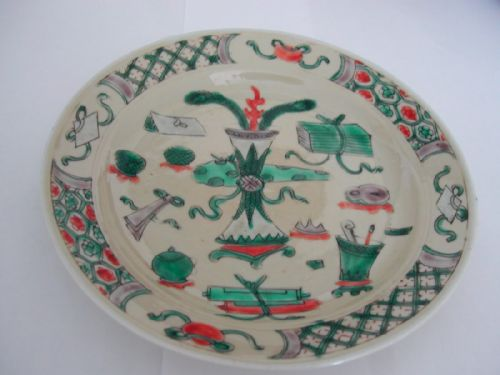 chinese famille verte small dish on a cafe au lait ground kangxi