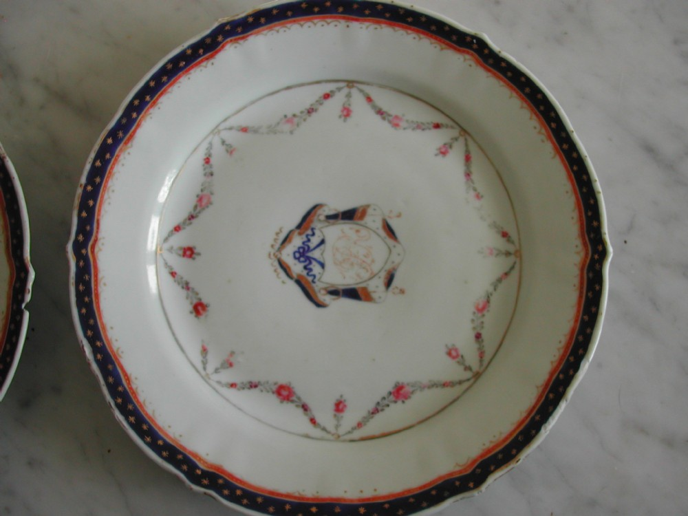 chinese pair of famille rose monogramed plates 18th century