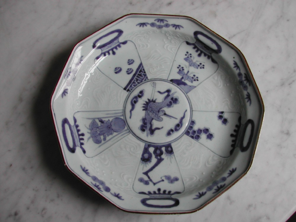 very fine and rare japanese arita kakiemon style blue and white moulded ten sided dish circa 1680