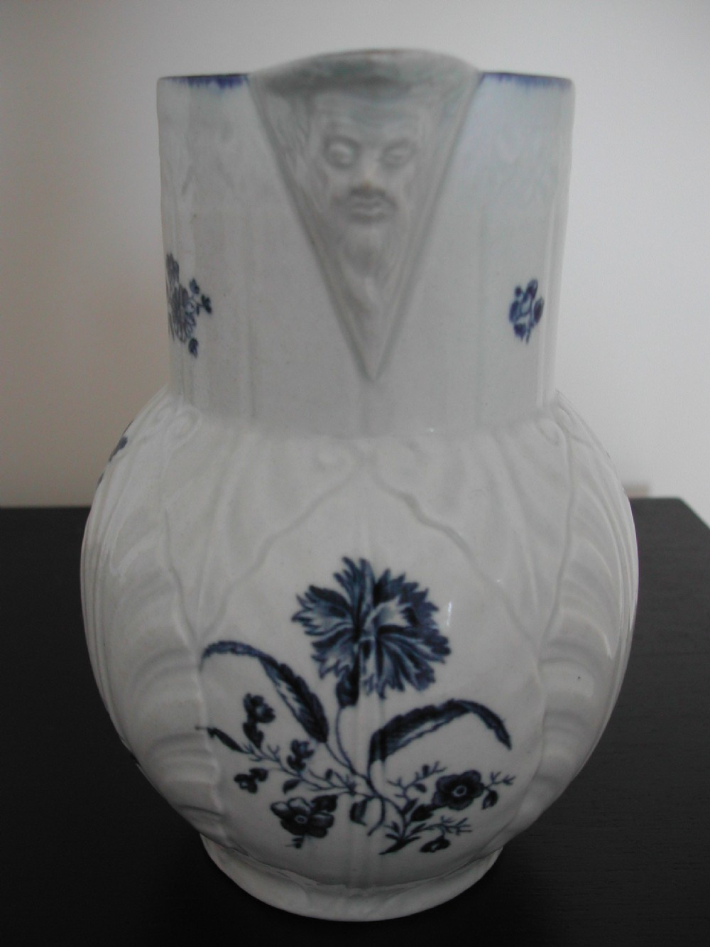 a fine early worcester blue and white leaf moulded jug circa 1770