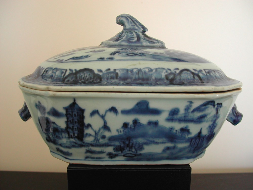 chinese blue and white sauce tureen with animal head handles circa 1750
