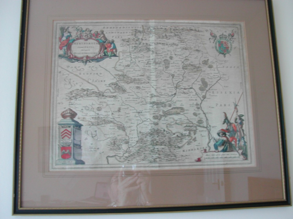 for sale is this very fine early hand coloured map of hertfordshire dating to the mid17th century