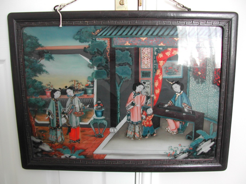 19th century chinese reverse painting on glass